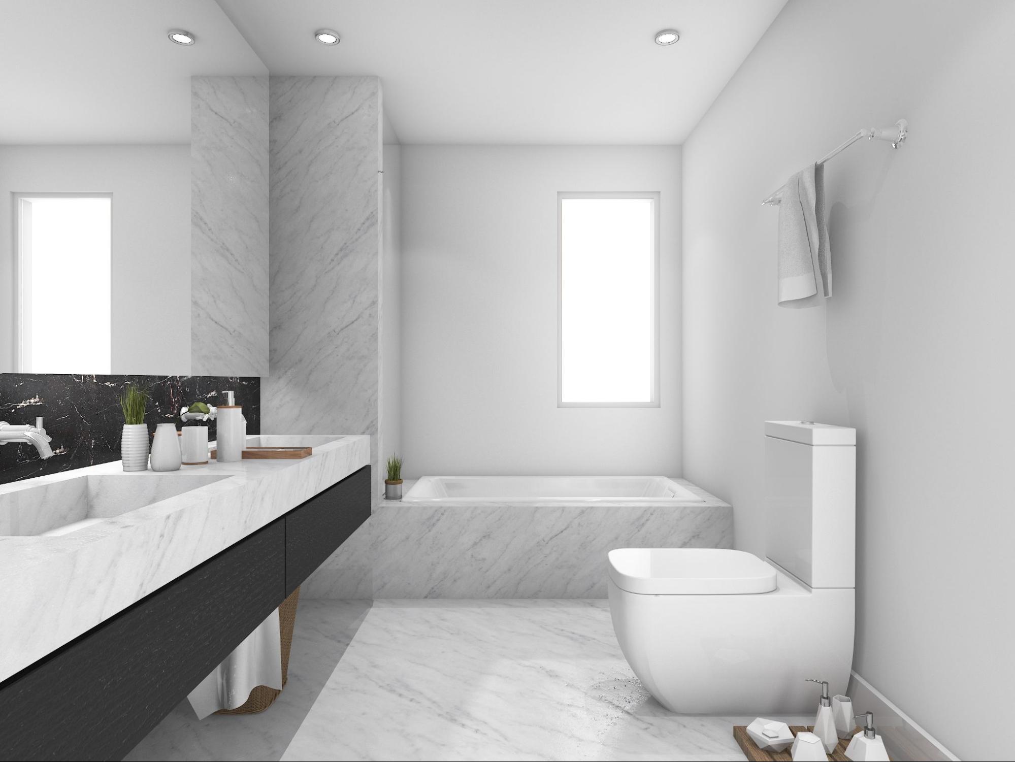 Bianco Marble Slab On Bathroom Vanitytop And Flooring