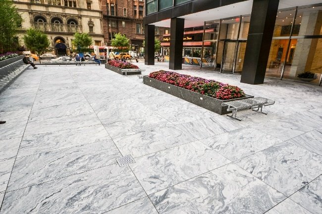 Bianco Marble Slab In Outdoor Spaces