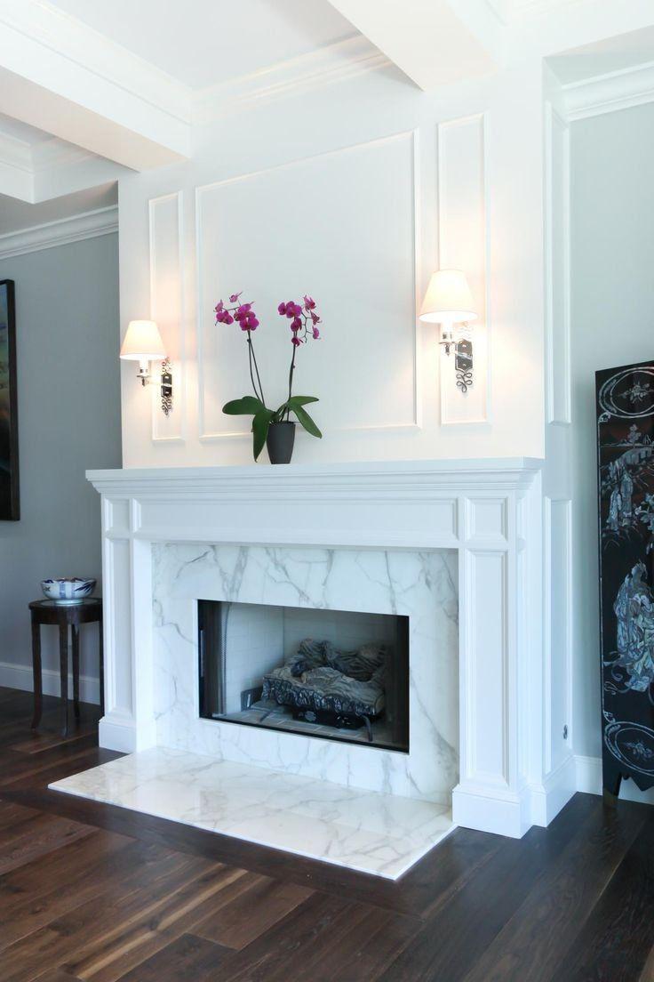 Bianco Marble Slab On Fireplace