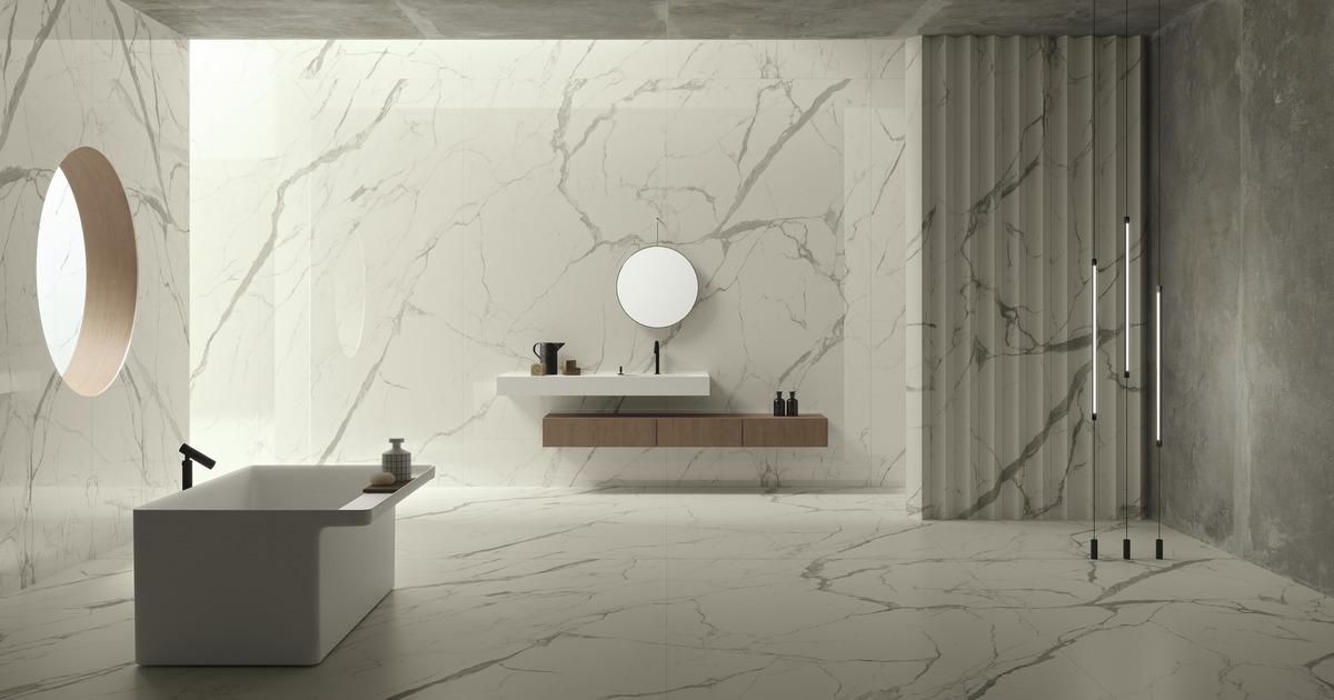 Bianco Marble Slab On Wall And Floor
