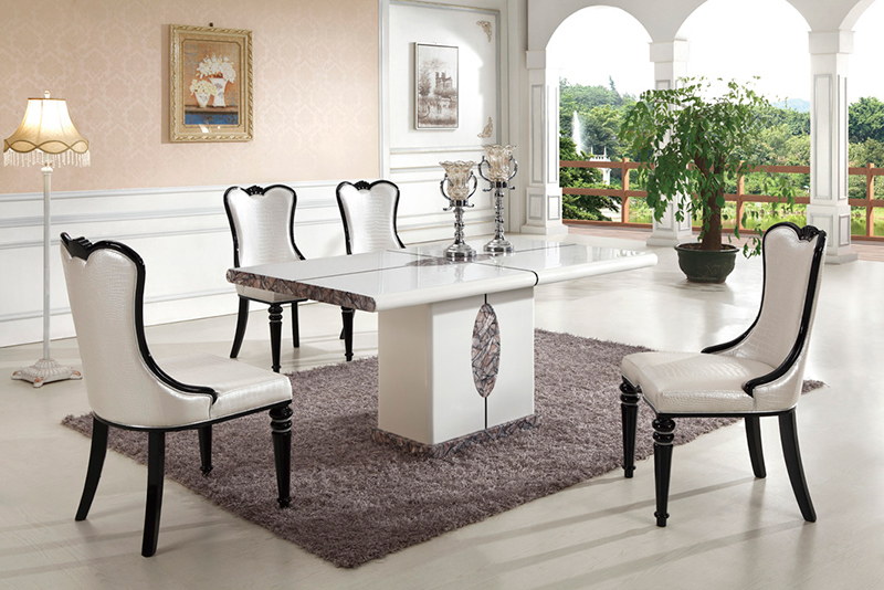 Bianco Marble Tiles In Dining Room