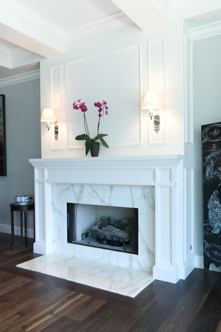 Bianco Marble Tiles On Fireplace
