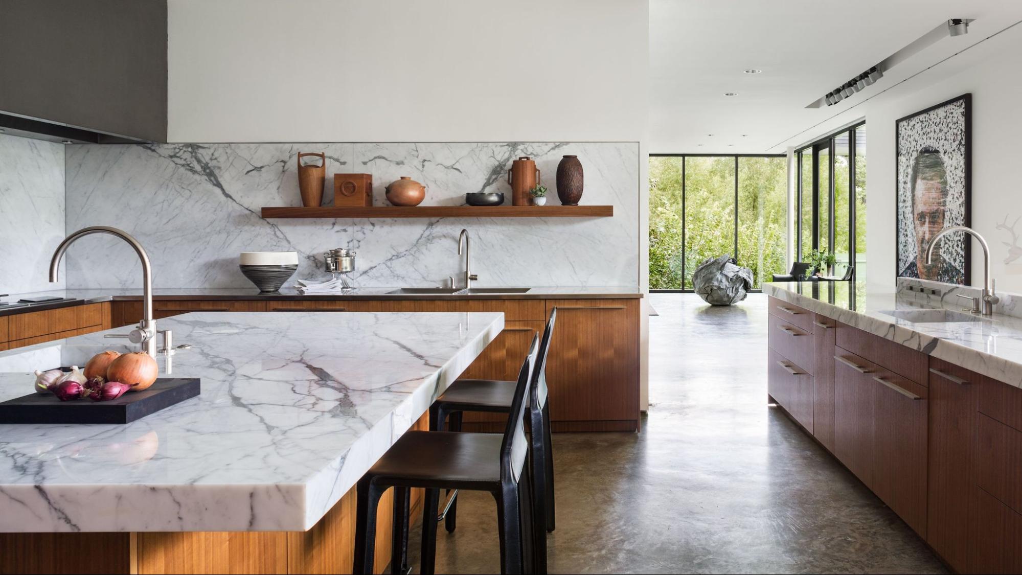 Bianco Marble Tiles On Kitchen Countertops And Backsplash