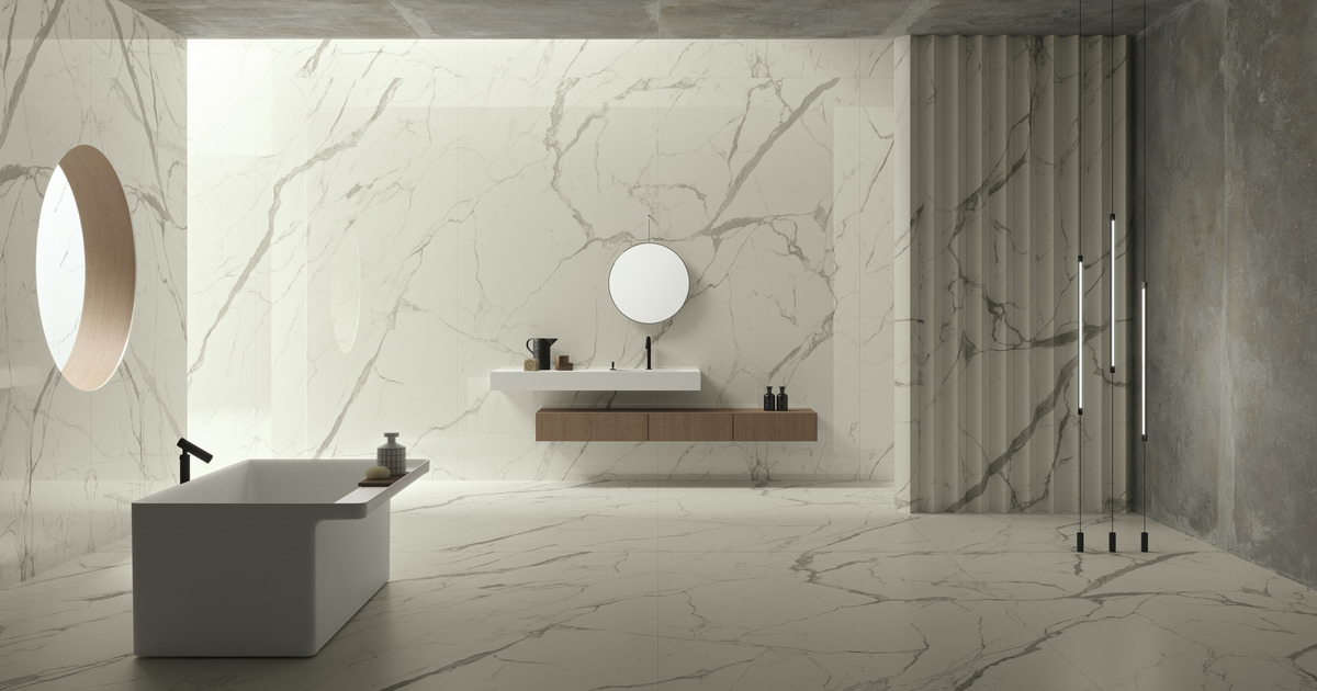 Bianco Marble Tiles On Wall And Floor