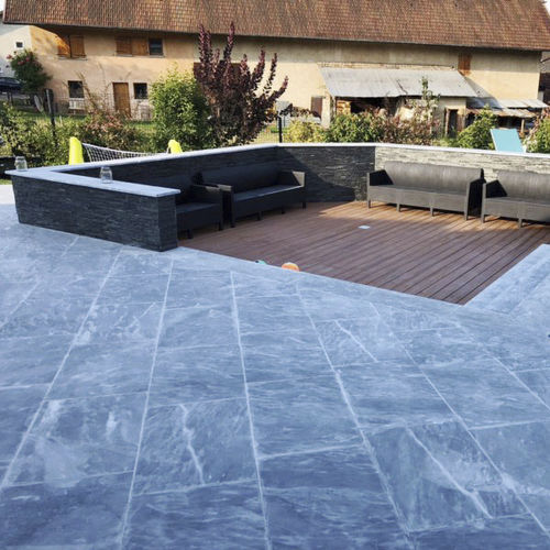 Blue Marble Slab On Outdoor Patio