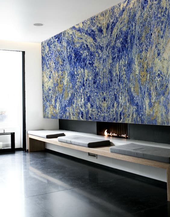 Blue Marble Tiles Arround Fireplace