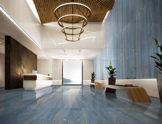 Blue Marble Tiles In Entryway