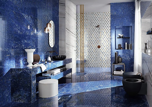 Blue Marble Tiles On Flooring