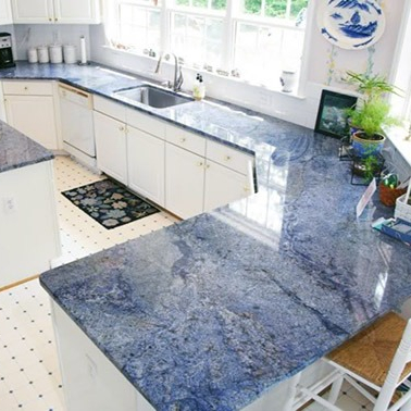 Blue Marble Tiles On Kitchen Countertop
