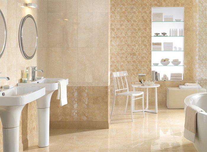 Botticino Marble Slab In Bathroom