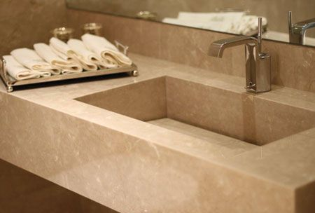Botticino Marble Slab On Sink