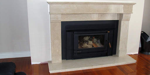 Botticino Marble Tiles Around Fireplace Area