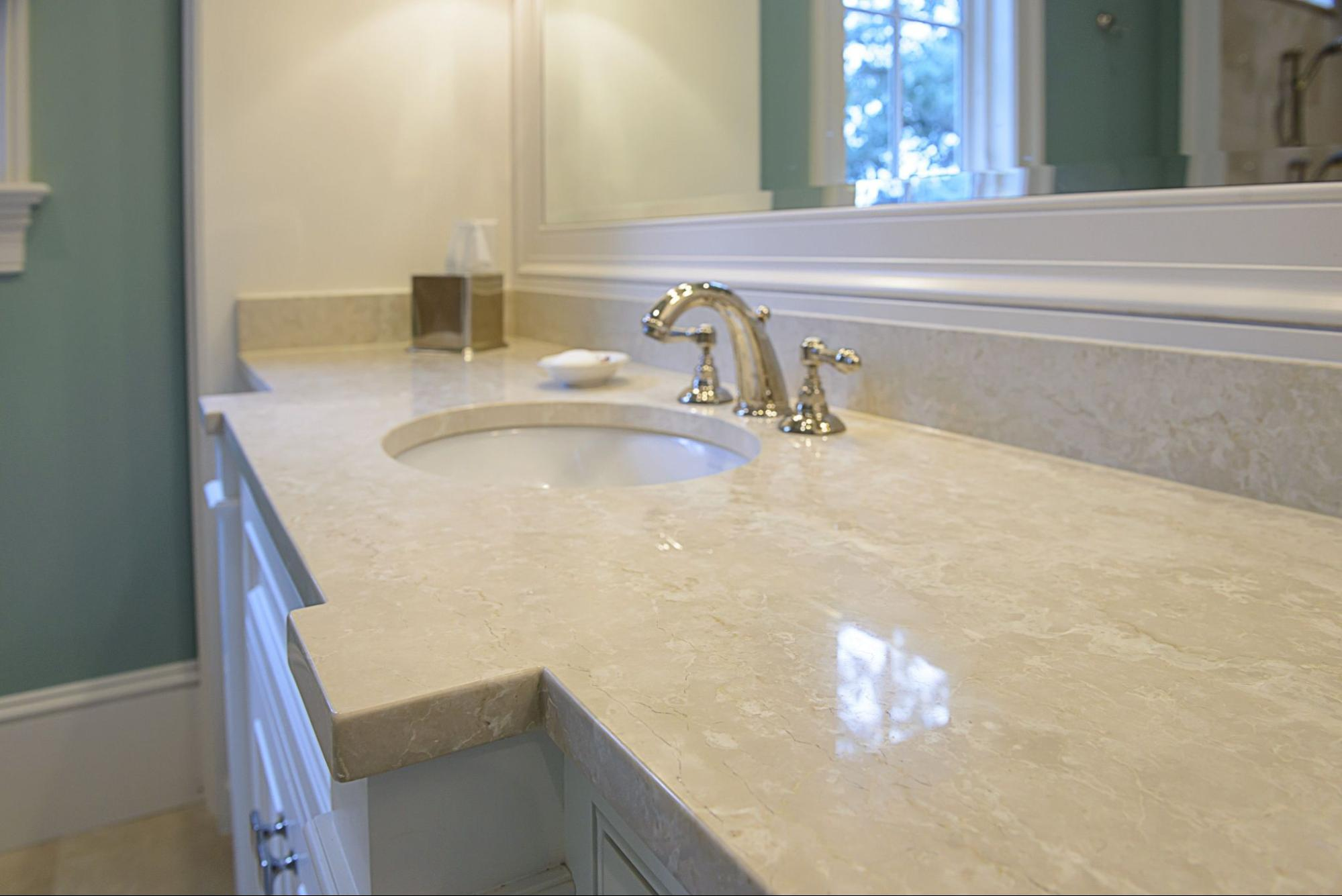 Botticino Marble Tiles On Countertop