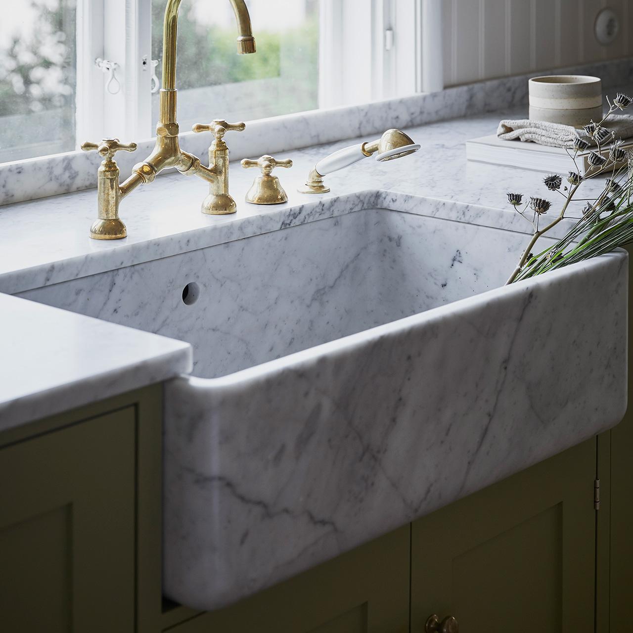 Breccia Marble Slab On Bathroom Sink