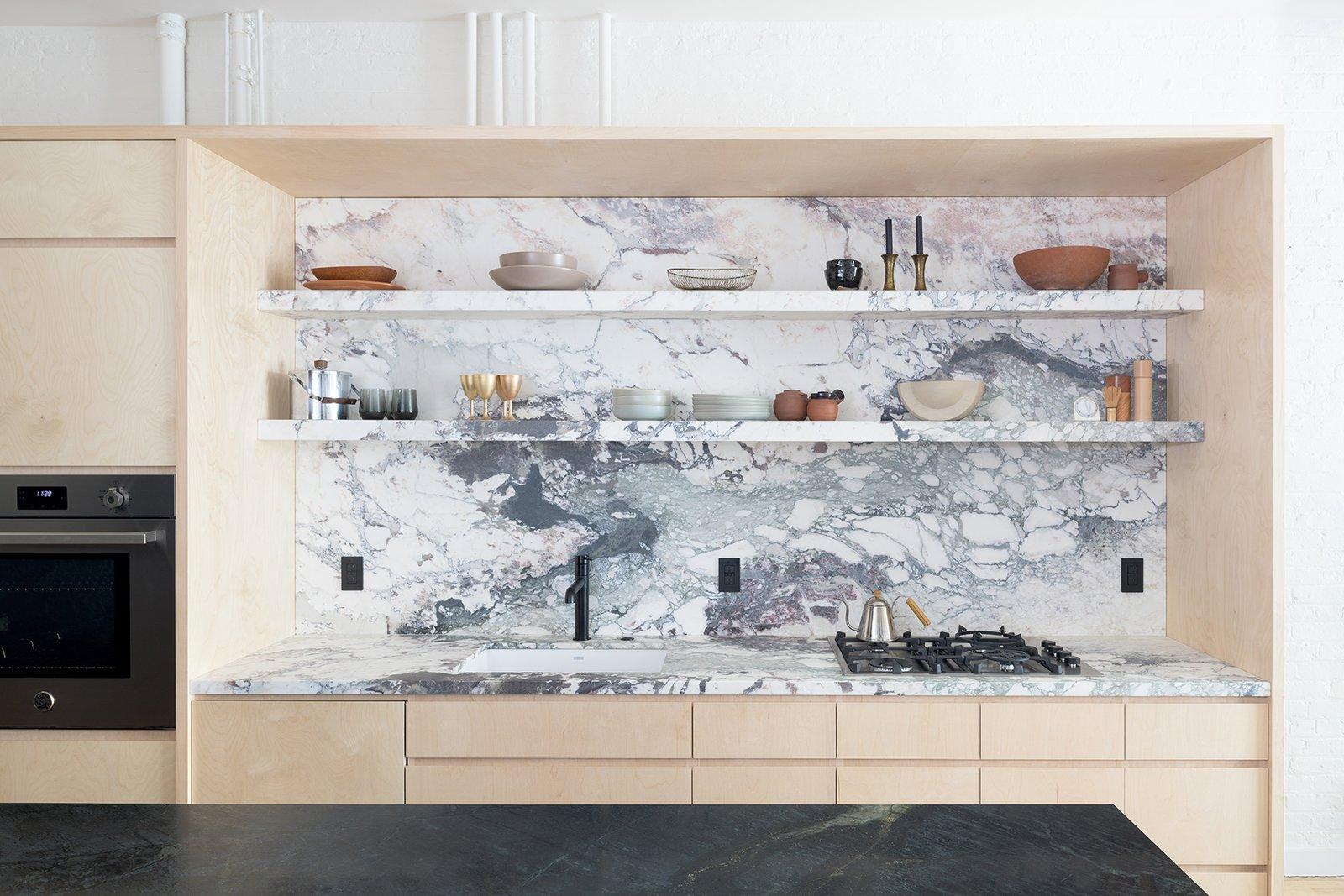 Breccia Marble Slab In Kitchen Backsplash
