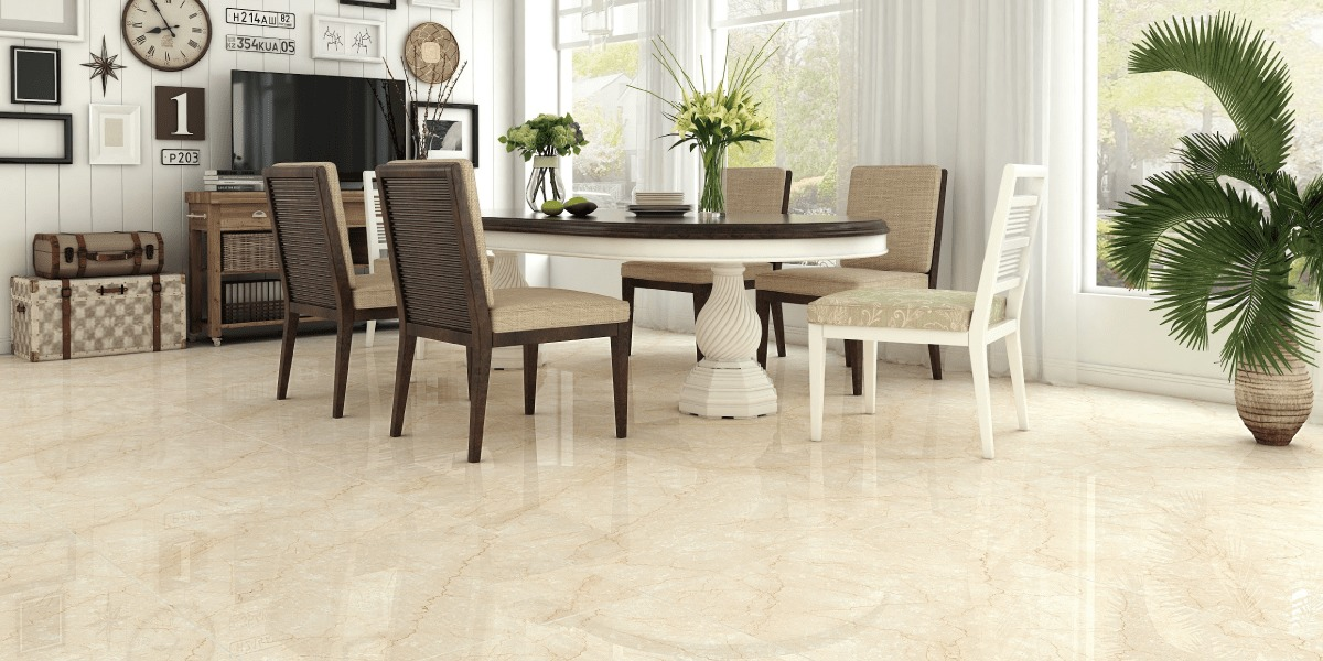 Breccia Marble Tiles In Dining Room