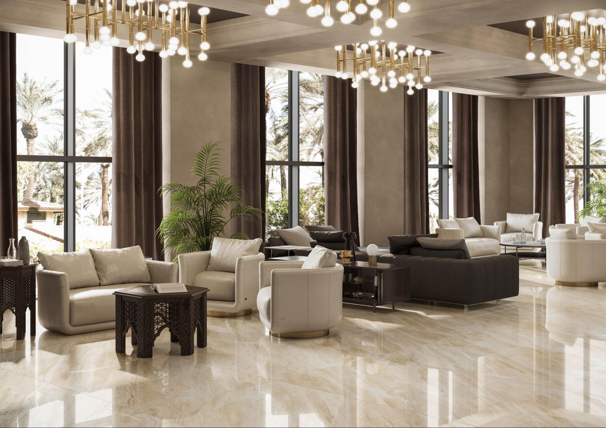 Breccia Marble Tiles In Living Room