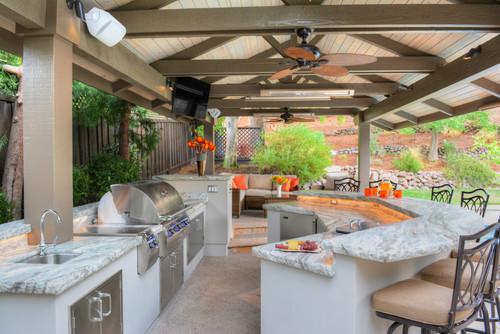 Breccia Marble Tiles In Outdoor Kitchen