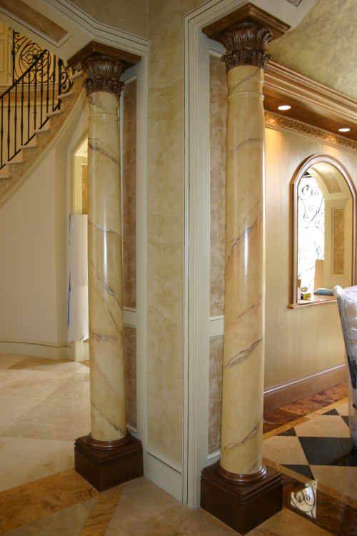Breccia Marble Tiles On Column