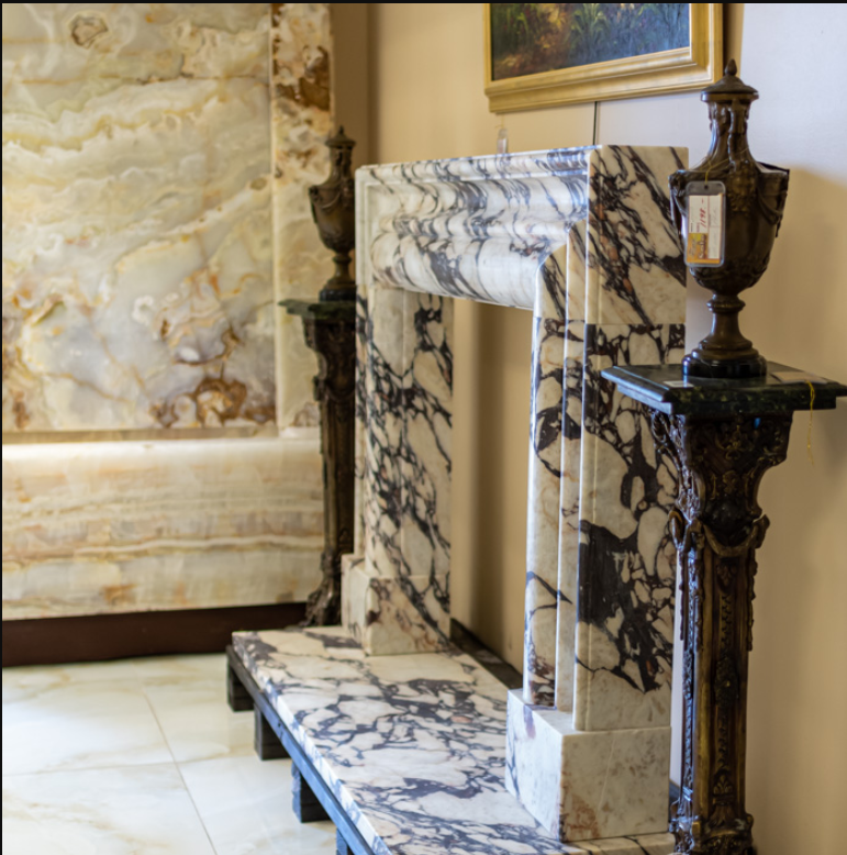 Breccia Marble Tiles On Fireplace Mantel