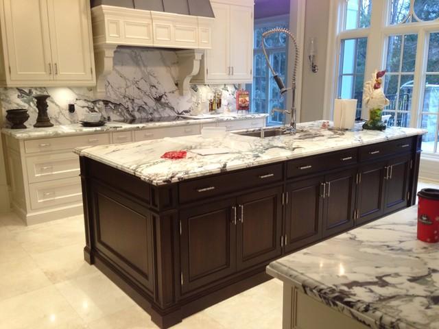 Breccia Marble Tiles On Kitchen Countertop