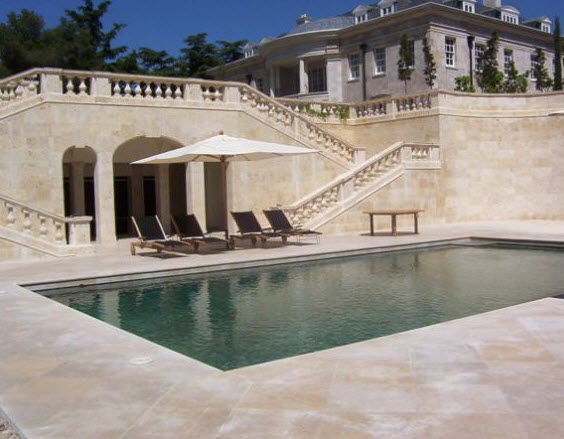 Breccia Marble Tiles On Poolside