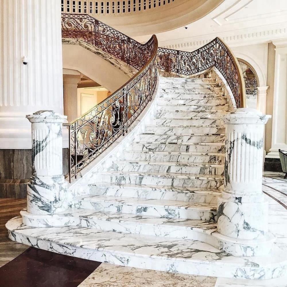 Breccia Marble Tiles On Staircase