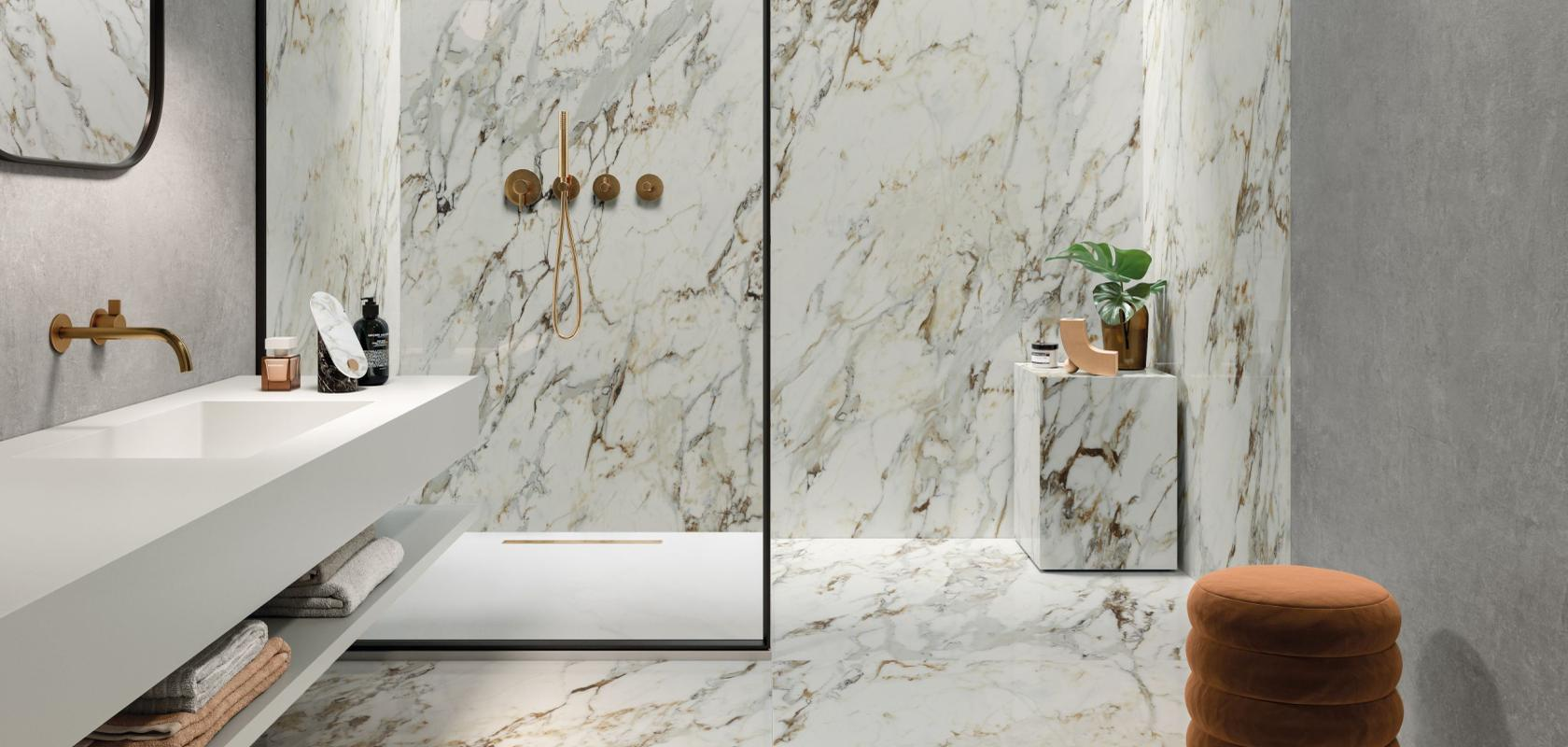 Breccia Marble Tiles on Wall Coverings