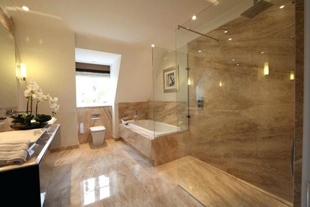 Brown Marble Slab In Bathroom