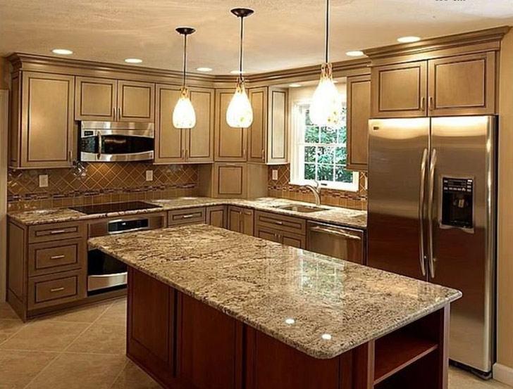 Brown Marble Slab In Kitchen