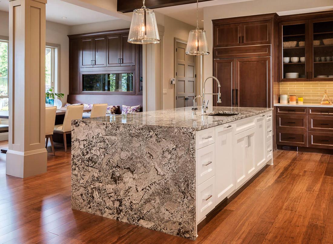 Brown Marble Slab On Countertop