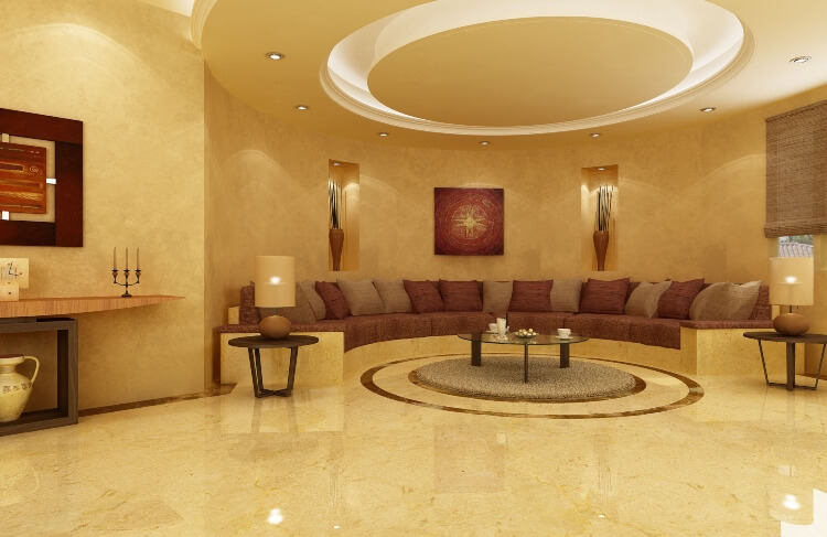 Crema Marble Slab In Living Room