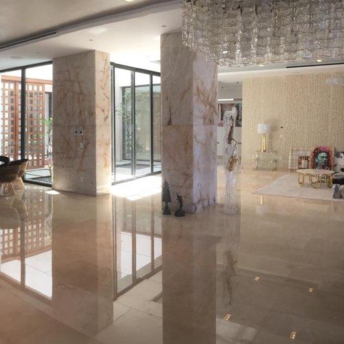 Crema Marble Slab On Interior Wall And Flooring