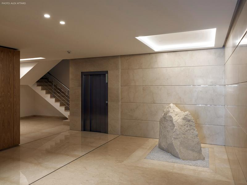 Crema Marble Slab On Interior Wall Cladding