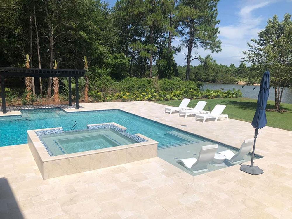 Crema Marble Slab On Pool Deck
