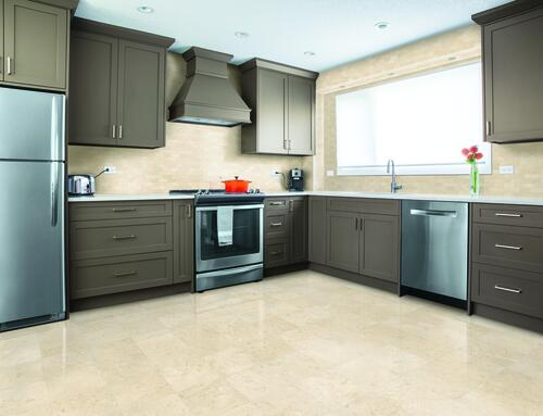 Crema Marble Tiles On Kitchen Backsplash