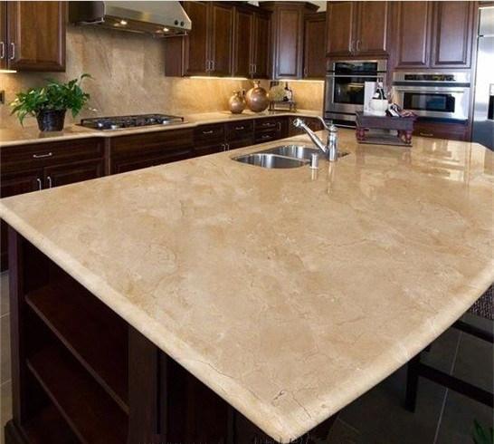 Crema Marble Tiles On Kitchen Countertop