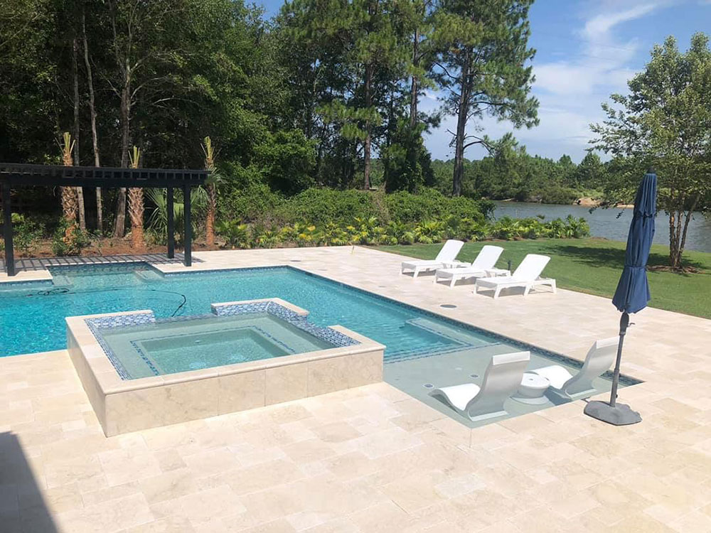 Crema Marble Tiles On Pool Deck