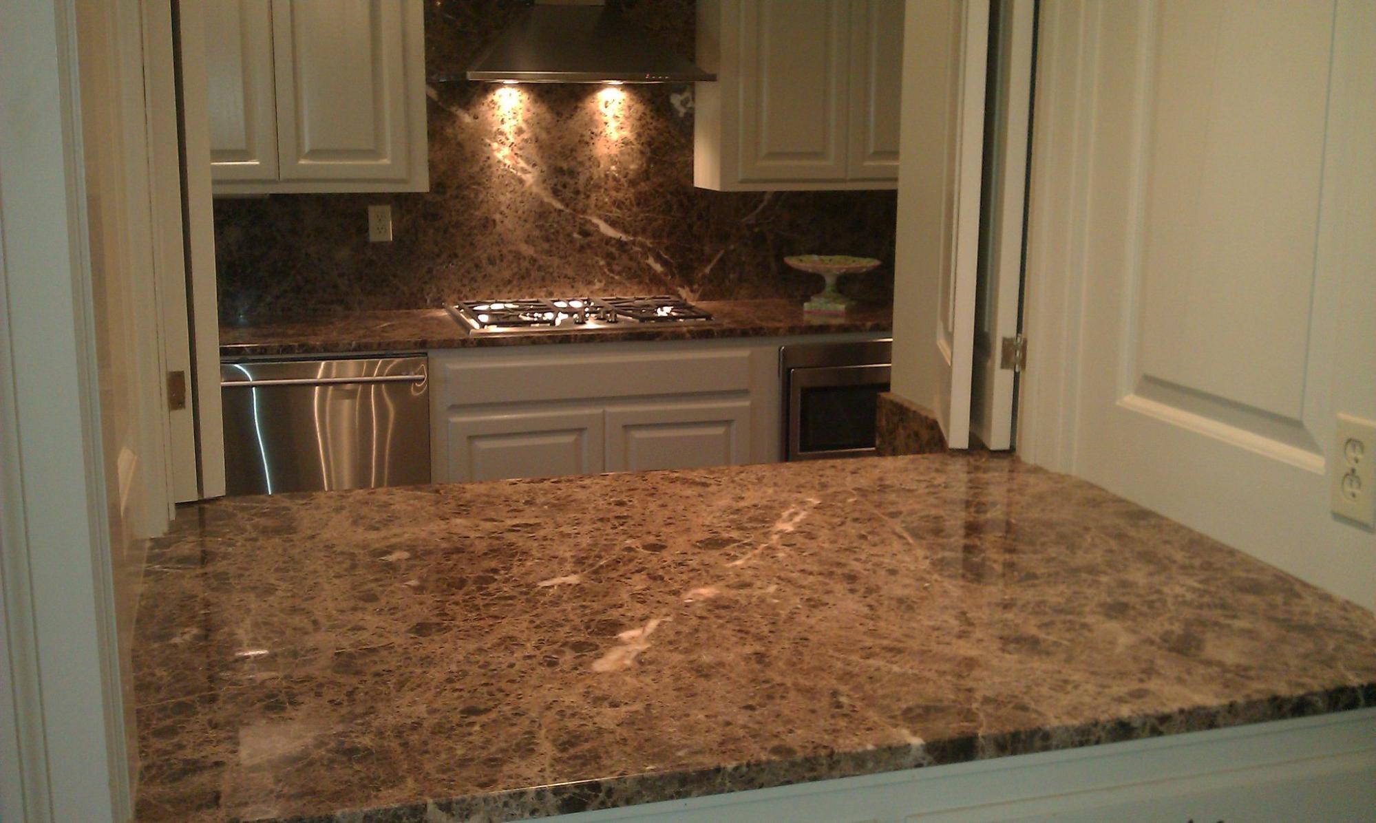 Emperador Marble Slab On Kitchen Backsplash