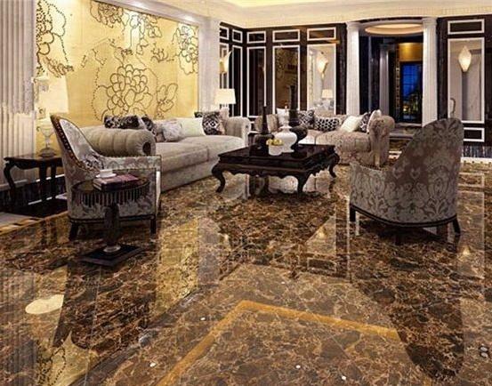 Emperador Marble Tiles In Living Room