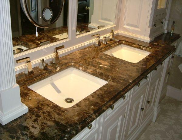 Emperador Marble Tiles On Bathroom Vanity