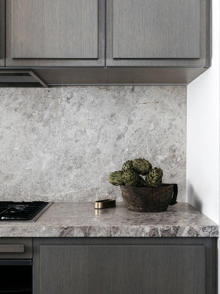 Grey Marble Slab In Kitchen