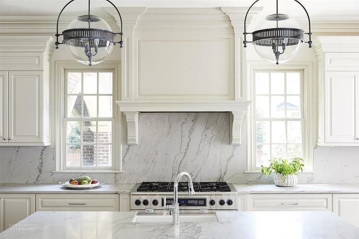 Ivory Marble Slab In Kitchen Backsplash