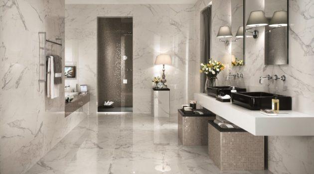Ivory Marble Slab On Bathroom Floors