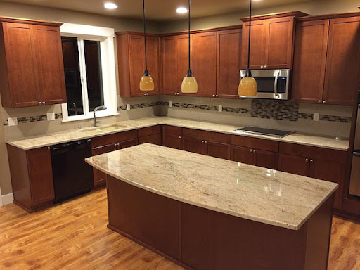 Ivory Marble Slab On Countertop
