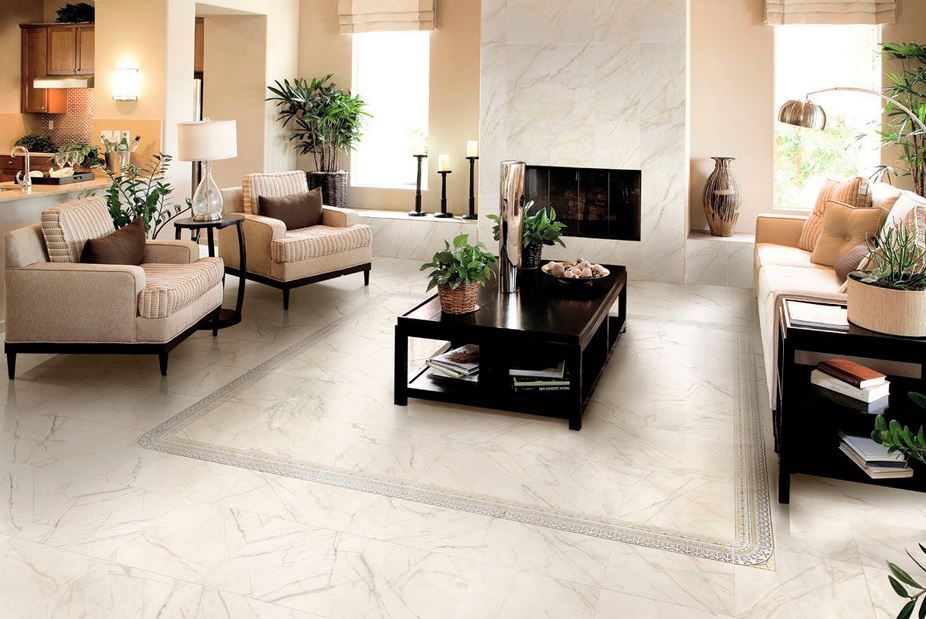 Ivory Marble Tiles In Living Room