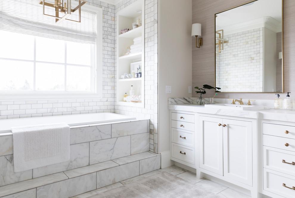 Ivory Marble Tiles On Bathroom Vanitytop