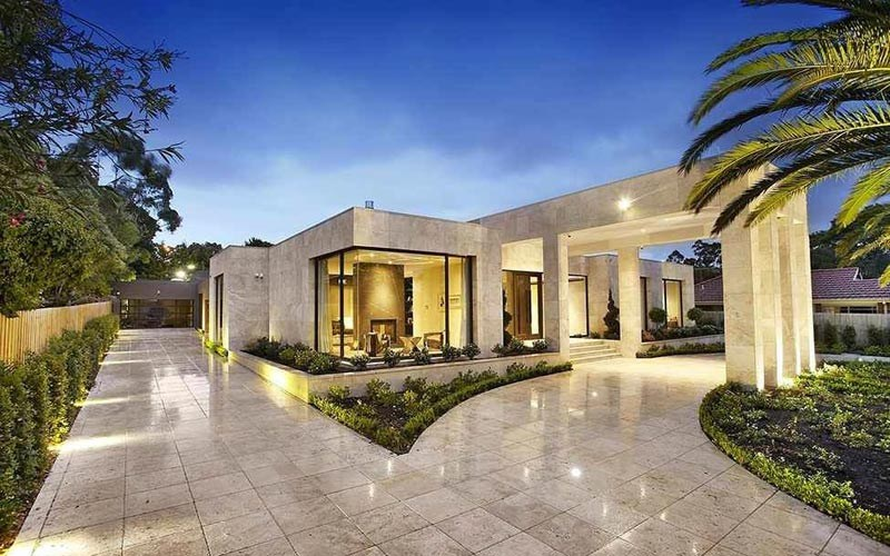 Ivory Marble Tiles On Exterior Walls