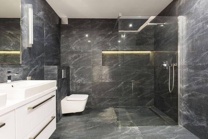 Marquina Marble Slab In Shower