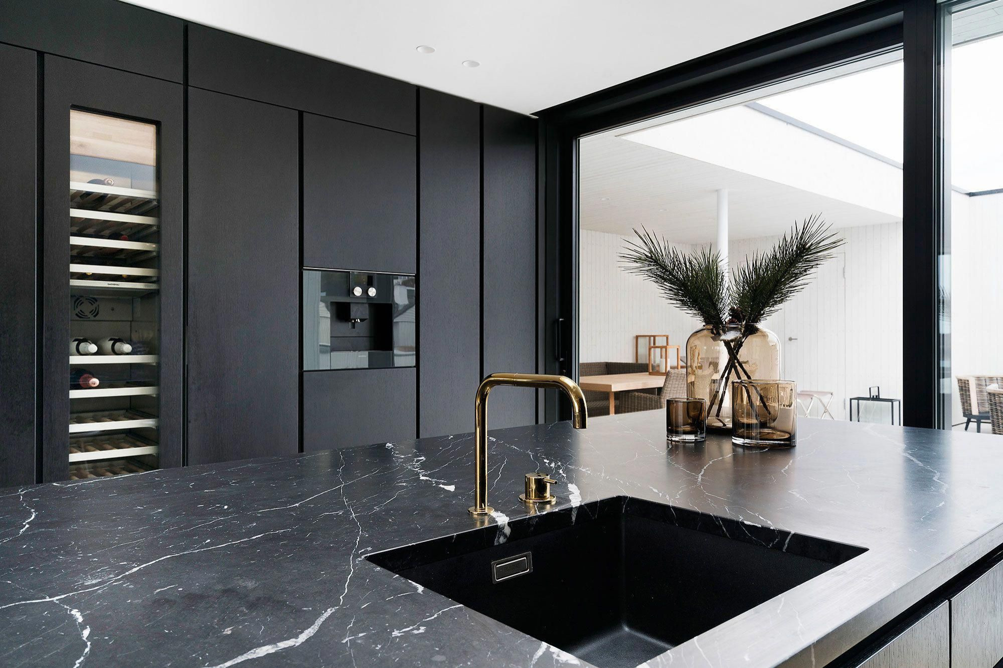 Marquina Marble Slab On Kitchen Countertop